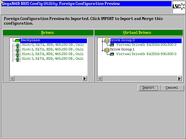 MegaRAID: All of the disks from your previous configuration are gone